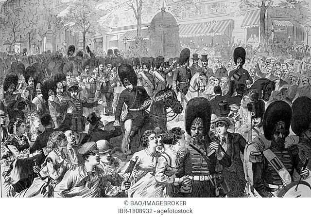 Decampment of the Guards Grenadiers in Paris, historic illustration, illustrated war chronicle 1870 to 1871, German campaign against France