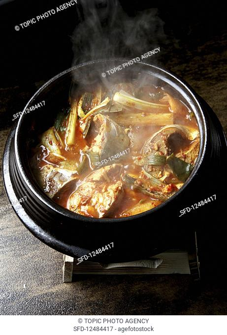 Godeungeo jjigae (Korean spicy mackerel stew)