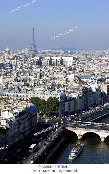 France, Paris, panorama from Notre Dame de Paris cathedrale with the banks of the Seine listed as World Heritage by UNESCO and the Eiffel Tower