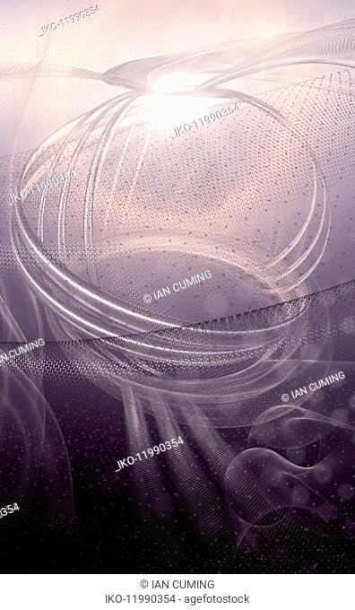 Complex abstract metallic purple coil pattern