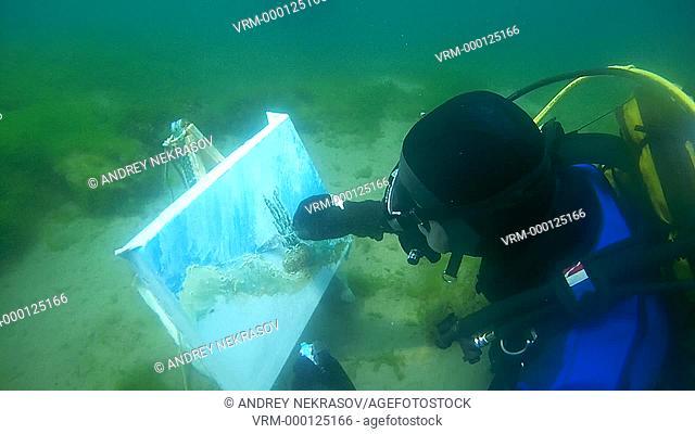 Underwater artist Yuriy Alexeev (Yuri Alekseev) paints a picture under water. Lake Baikal, Siberia, Russia, Eurasia