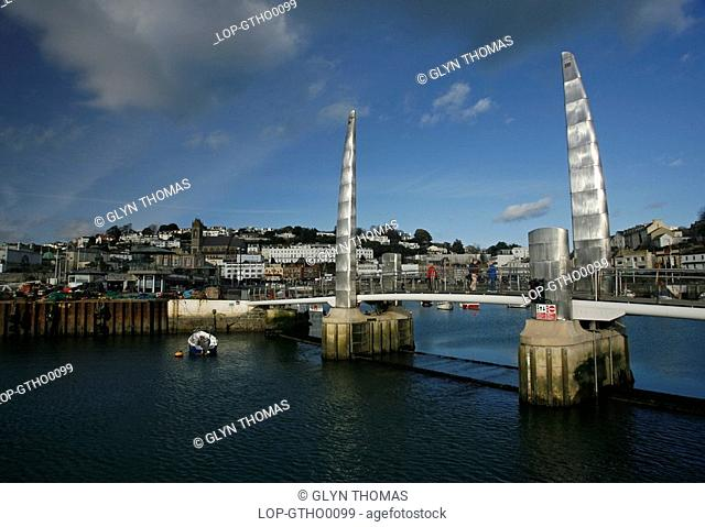 England, Devon, Torquay, Torquay harbour bridge and sailing boats at the marina in Devon