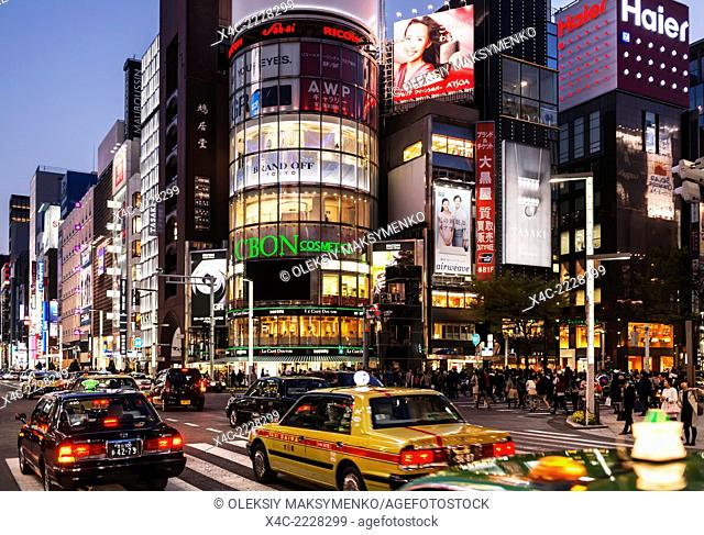 Chuo Dori street intersection at night. Ginza, Tokyo, Japan 2014