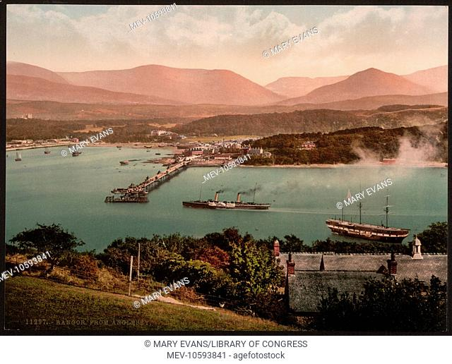 Bangor from Anglesey, Wales. Date between ca. 1890 and ca. 1900