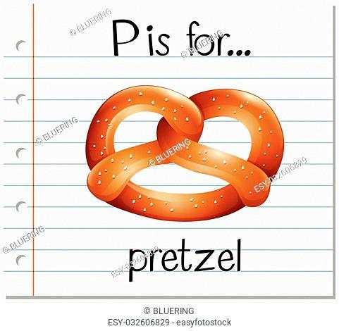 Flashcard alphabet P is for pretzel illustration