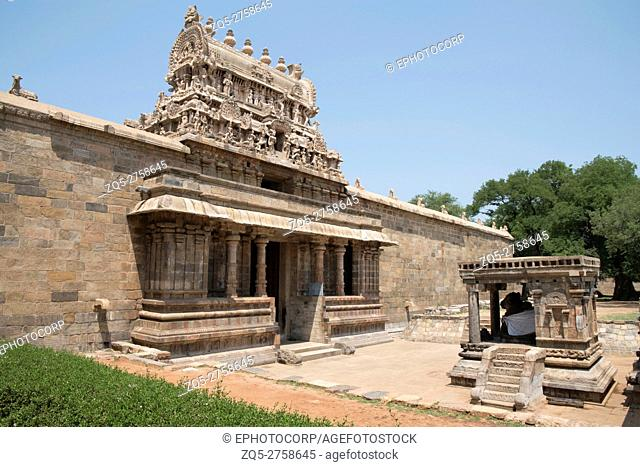 Nandi bull and entrance, Airavatesvara Temple, Darasuram, Tamil Nadu, India. View from South East