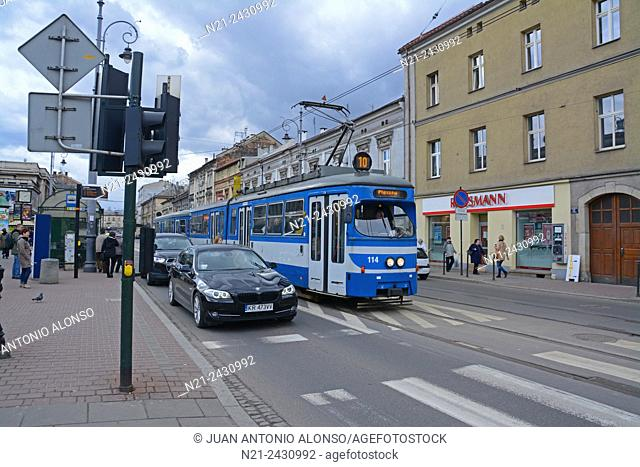 Tram and traffic at the Podgorze area. Krakov, Poland, Europe