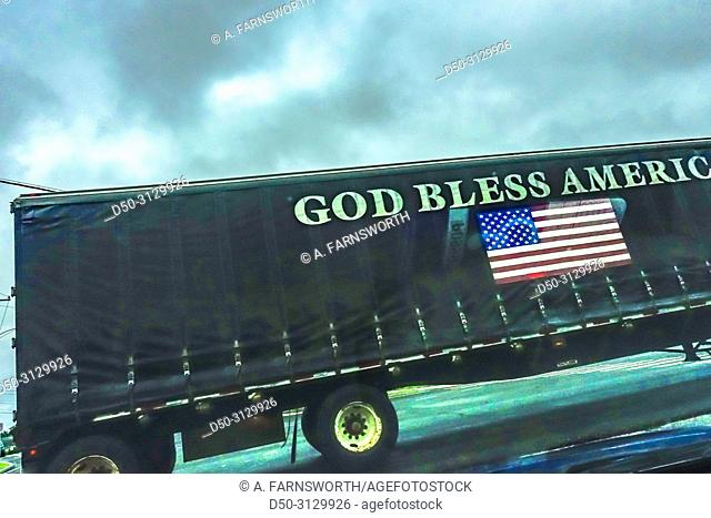 """West Cornwall, Connecticut, USA A huge truck with """"""""God Bless America"""""""" written on the canopy"""