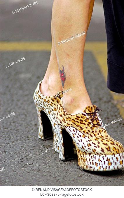High-heeled shoes at the Gay Pride Parade 2004. Paris. France