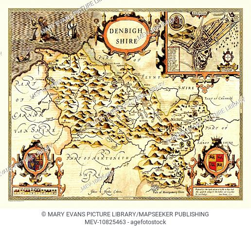 Fine 17th century map of the county embellished with three strapwork cartouches displaying the title, Royal Arms and the Arms of Wales