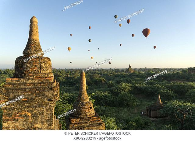Hot air balloons at the Bagan Plains temples and pagodas, Bagan, Myanmar, Asia