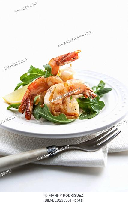 Shrimp on plate with fork