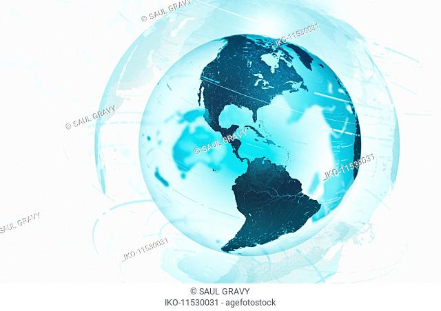 Data swirling around North and South America on transparent digital globe