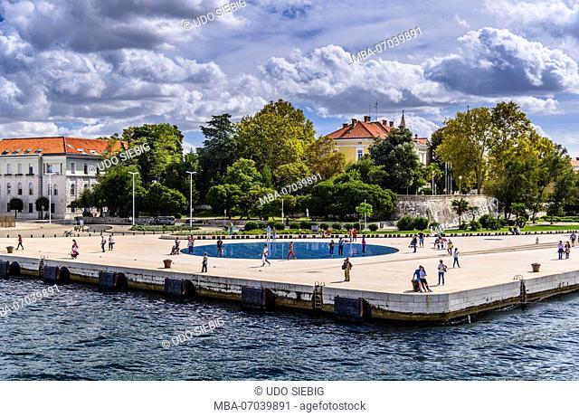 Croatia, Dalmatia, Zadar, promenade Nova Riva, light installation by Nikola Basic, view from the ferry