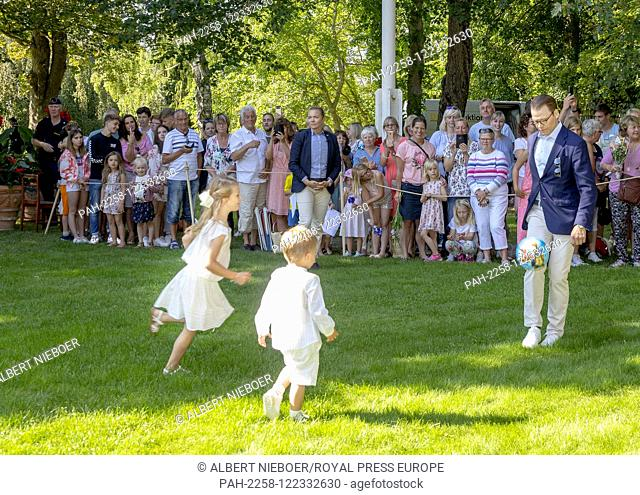 Prince Daniel, Princess Estelle and Prince Oscar of Sweden at Solliden Palace in Borgholm, on July 14, 2019, to attend the celebrations of Crown Princess...