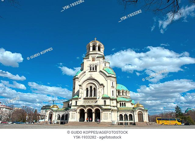 Sofia, Bulgaria. Exterior of the Eastern Orthodox Aleksander Nevski Cathedral, seat of the Bulgarian Patriarch, under a sunny sky with clouds