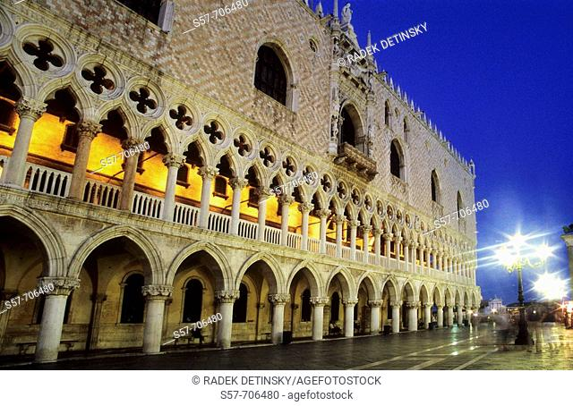 Doge's Palace in the evening, Venice, Italy