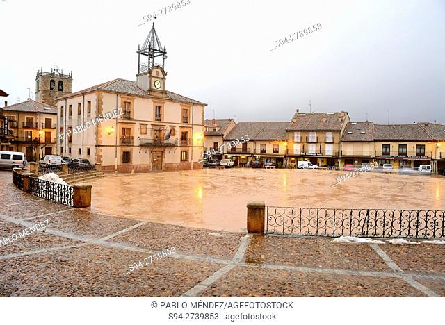 Town Hall in Town Hall arcaded square of Riaza, Segovia, Spain
