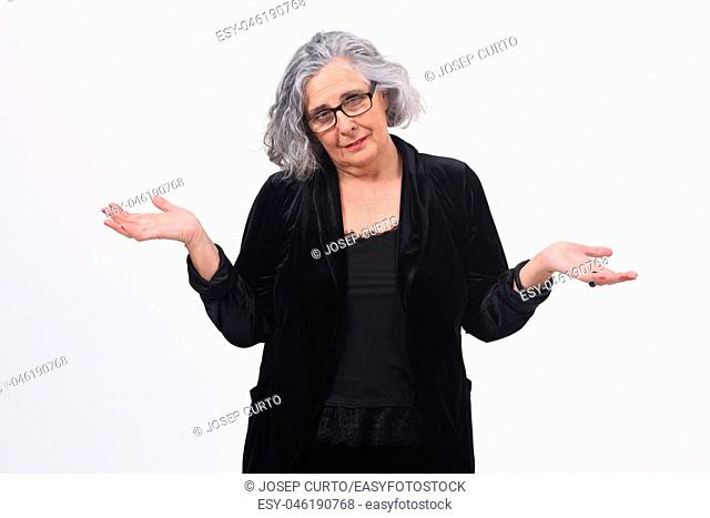 woman with doubt or confused expression on white background