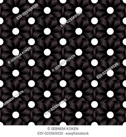 Seamless black and white abstract modern pattern created from repetitive circles