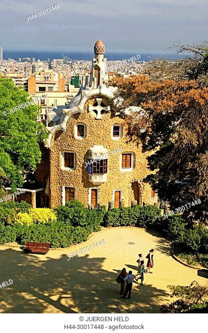 Spain, Catalonia, Catalunya, Barcelona, Park Guell by Antoni Gaudi