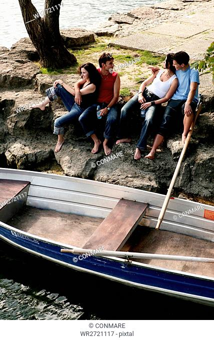 group, relaxing, lakeside, confidence, portrait, p