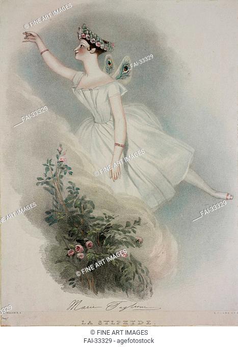 Marie Taglioni in La Sylphide by Chalon, Alfred Edward (1780-1860)/Lithograph, watercolour/Romanticism/Great Britain/Private Collection/Opera, Ballet