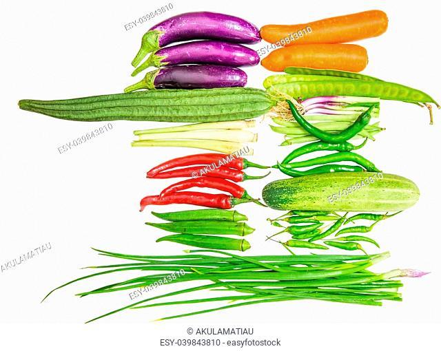 Vegetables variety over white background