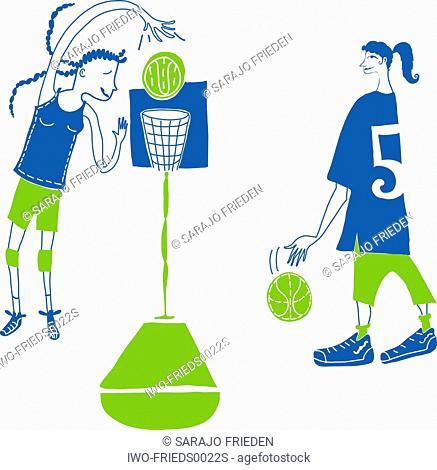 Two girls playing basketball