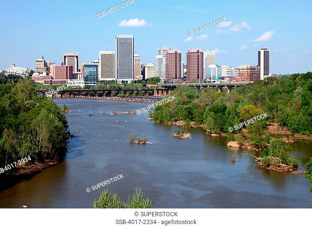 Richmond Skyline and James River with Belle Isle at left