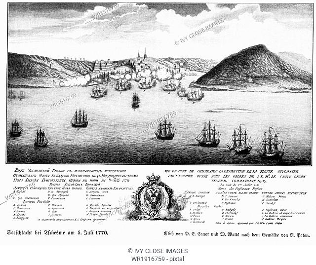 The seafight at Chesme took place on July 5, 1776. Fought during the Russo-Turkish War, pitting Turkey against Russia. It ended in a decisive defeat for Turkey
