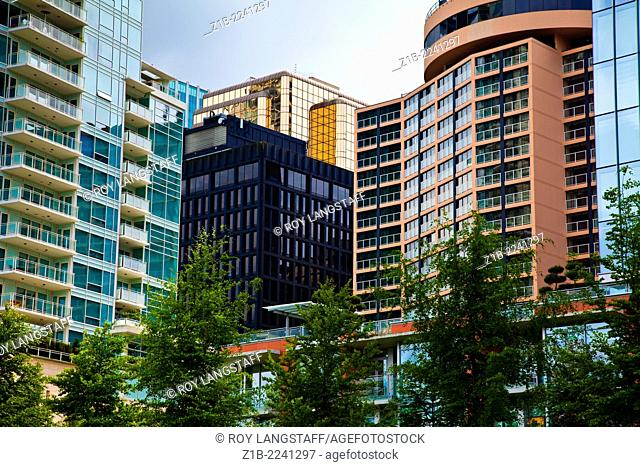 A contrast of architectural styles in downtown Vancouver, Canada,