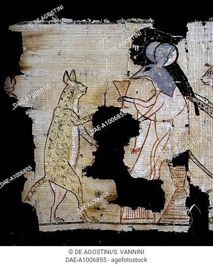 Papyrus depicting a satirical scene, ca 1100 BC, dating from the reign of Ramesses IX. Detail. Egyptian Civilisation, New Kingdom, Dynasty XX