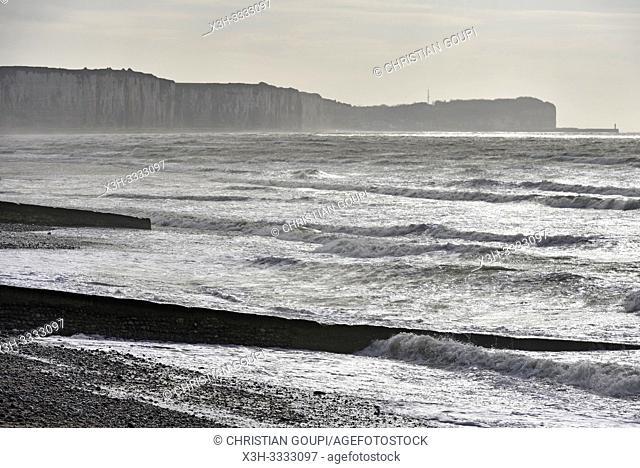 brise-lames, Veules-les-Roses, departement de Seine-Maritime, region Normandie, France/breakwaters, Veules-les-Roses, Seine-Maritime department, Normandy region