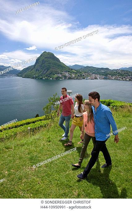 Switzerland, Europe, group, woman, man, couple, couples, lake, canton, TI, Ticino, Southern Switzerland, park, walking, Lugano, lake Lugano, San Salvatore