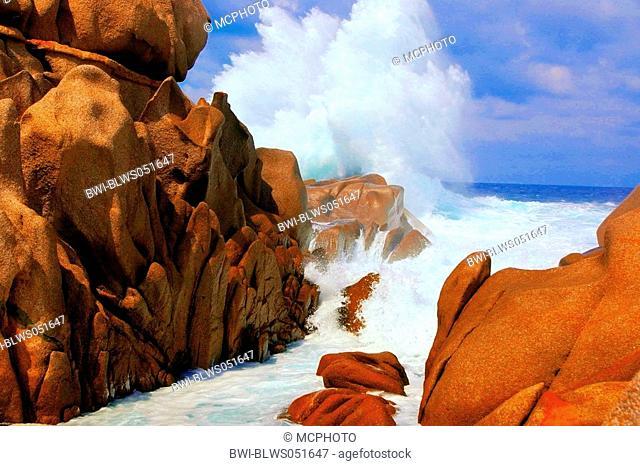 red cliff-lined coast, Italy, Sardegna