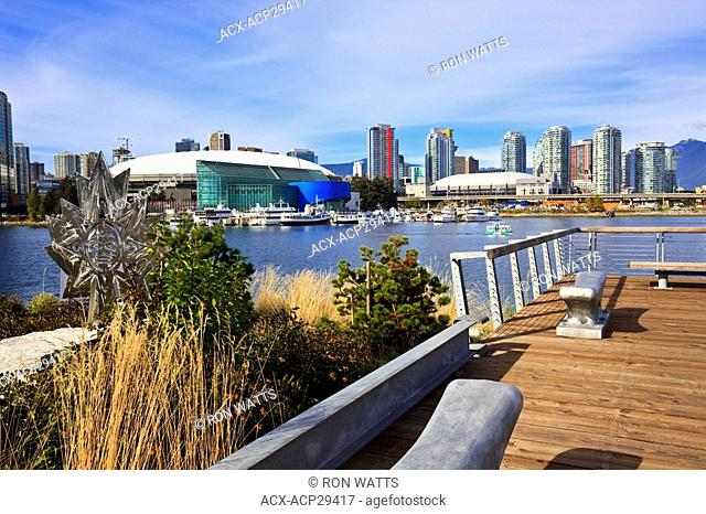 The view from the Athlete's Village across False Creek to BC Place Stadium, Vancouver British Columbia Canada. No Model Release