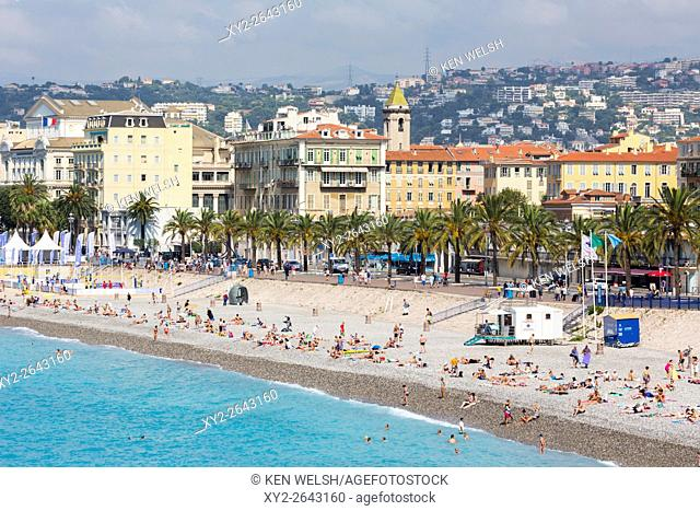 Nice, French Riviera, Cote d'Azur, France. Beach and Promenade des Anglais