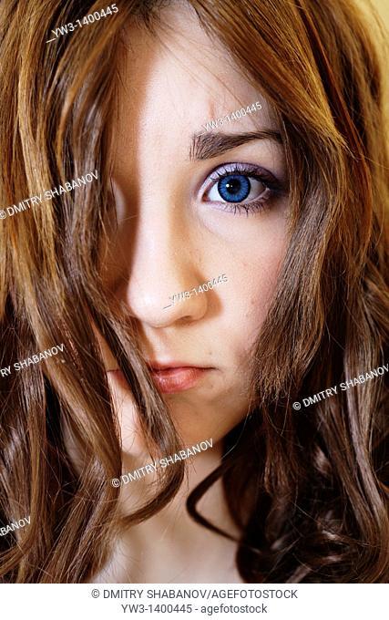 portrait of beautiful brunette woman blank expression