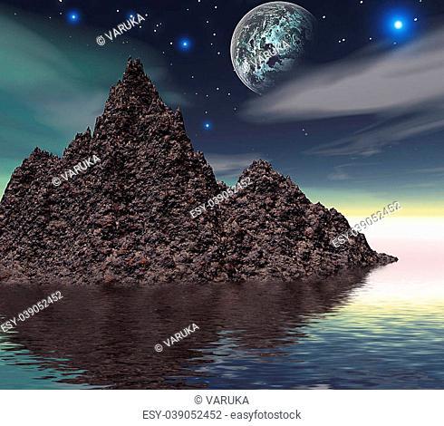 3d, island, mountain, space, landscape, planet
