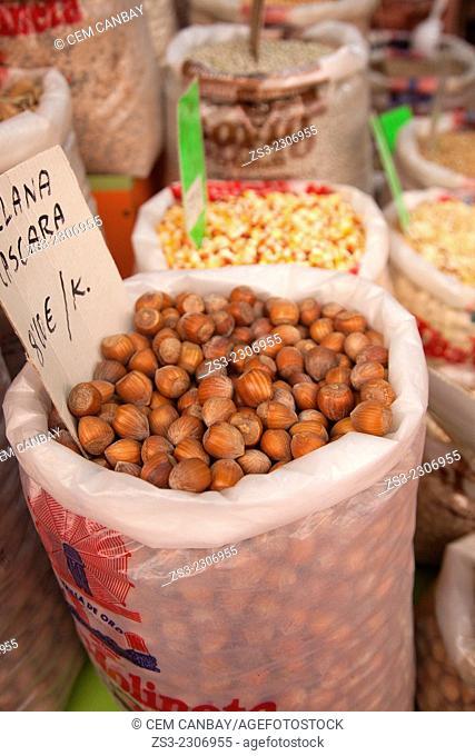 Different legumes in sacks at the Mercado de Nuestra Senora de Africa market, Santa Cruz, Tenerife, Canary Islands, Spain, Europe