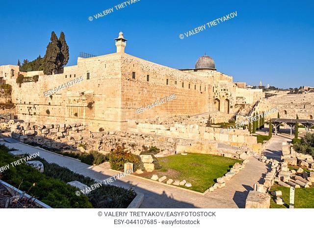 The southwest corner of the temple mount in Jerusalem