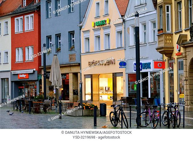 Facades of historic townhouses in the evening, Maximilianstrasse - main touristic promenade in old town, Bayreuth, capital of Upper Franconia, Bavaria, Bayern