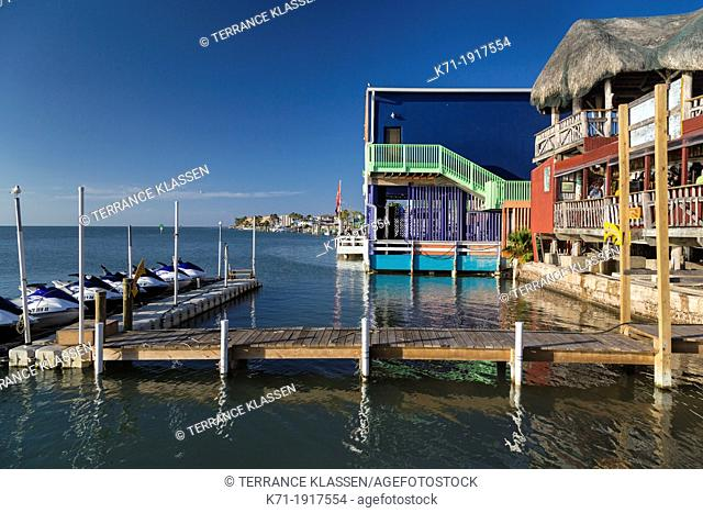 A coastal restaurant overlooking the coast of South Padre Island, Texas, USA