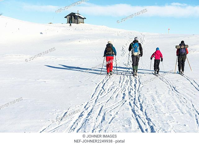 Family snowshoeing in mountains