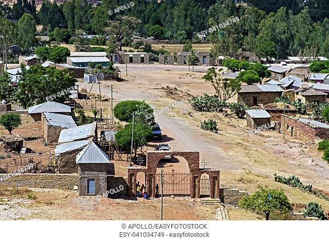 Hamlet at the entrance to the Orthodox church Abreha wa Atsbaha, Gheralta region, Tigray, Ethiopia