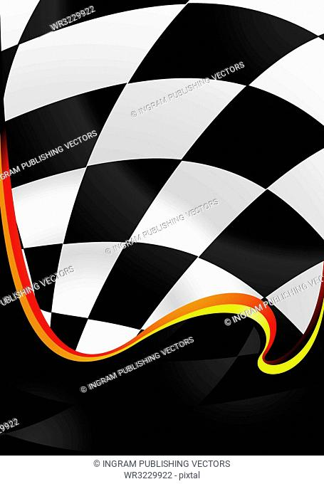 checkered flag background with wave effect and room to add copy