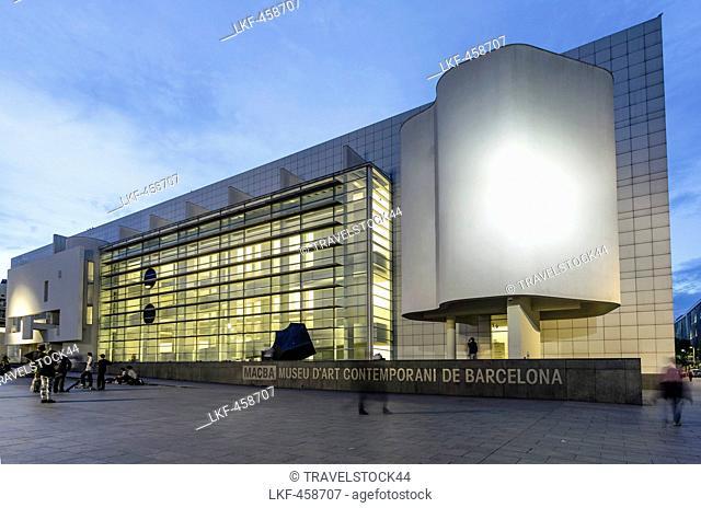 MACBA in the evening light, Museum of Modern Art by Richard Maier, Barcelona, Catalunia, Spain