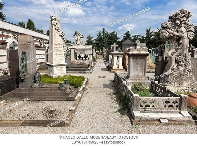 The oldest side of a Monumental Cemetery in North Italy