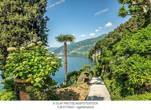 Garden of Villa Balbianello in Lenno at Lake Como, Lombardy, Italy
